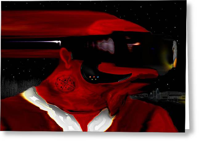 Midnight At The Spaceport Greeting Card by AW Sprague II