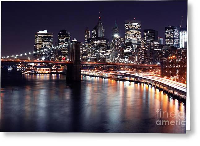 Midnight In The Shadow Of Brooklyn Bridge II- Brooklyn Bridge Greeting Card by Lee Dos Santos