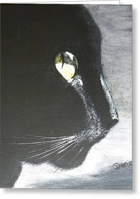 Midnight Prowler Greeting Card by Denise Hills