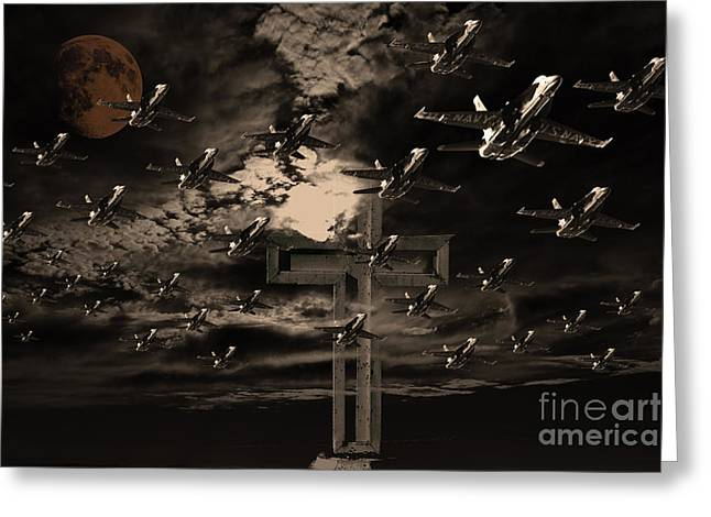 Midnight Raid Under The Golden Moonlight Greeting Card by Wingsdomain Art and Photography