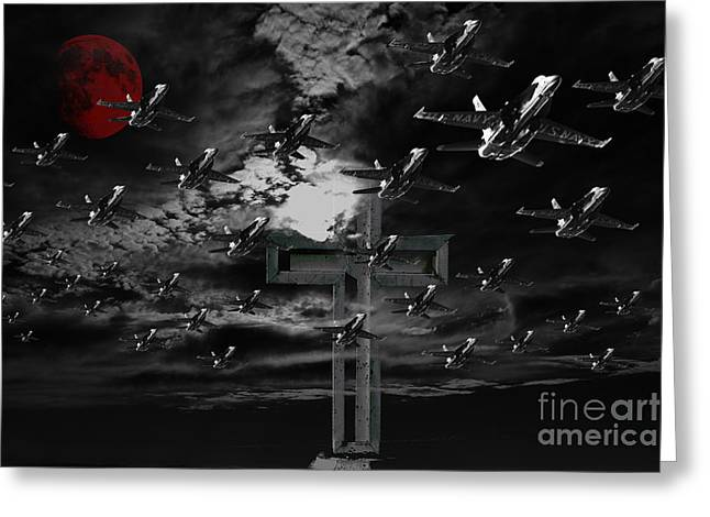 Midnight Raid Under The Red Moonlight Greeting Card by Wingsdomain Art and Photography
