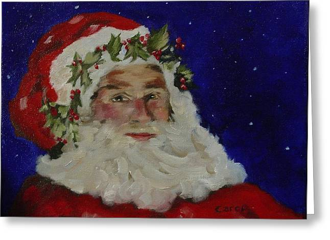 Midnight Santa Greeting Card by Carol Berning