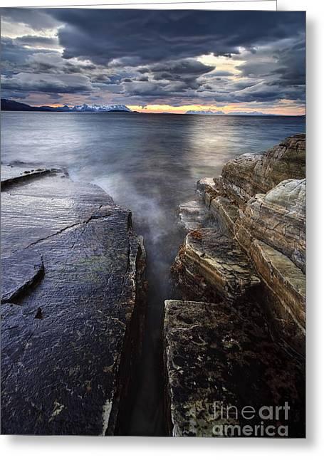 Midnight Sun Over Vagsfjorden In Troms Greeting Card by Arild Heitmann