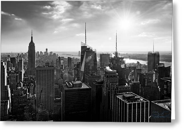 Midtown Skyline Infrared Greeting Card