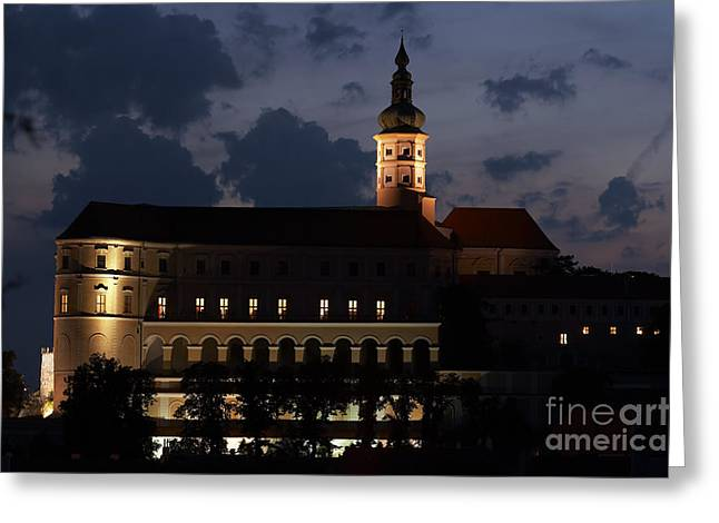 Mikulov Castle At Night Greeting Card by Michal Boubin