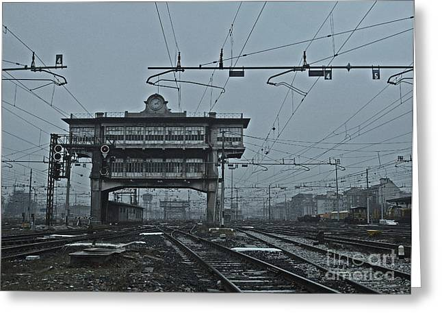 Greeting Card featuring the photograph Milan Central Station Italy In The Fog by Andy Prendy