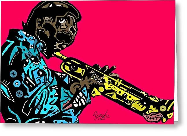 Miles Davis Full Color Greeting Card by Kamoni Khem