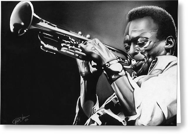 Miles Davis Greeting Card by Jeff Stroman