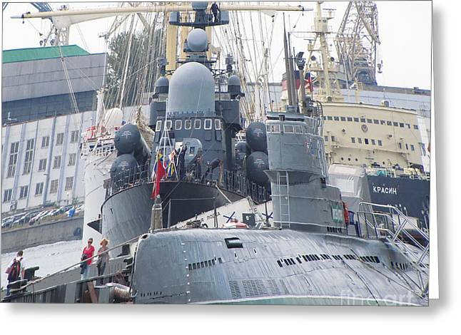 Military Port Greeting Card by Yury Bashkin