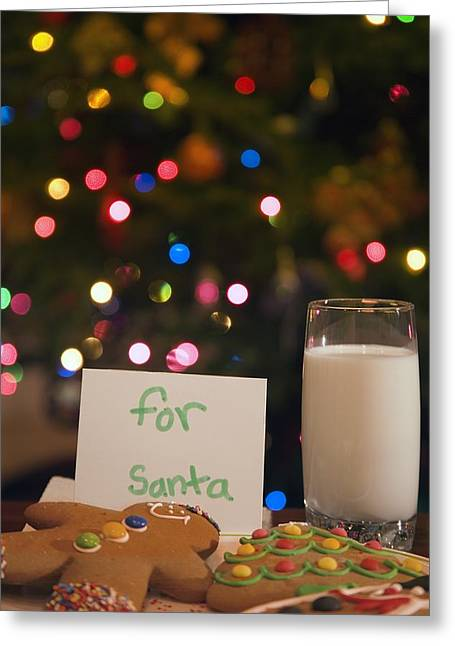 Milk And Cookies For Santa Greeting Card by Carson Ganci