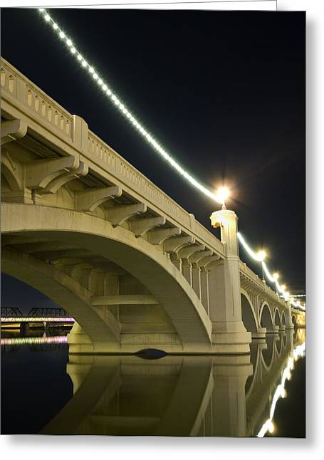 Mill Avenue Bridge At Night Greeting Card