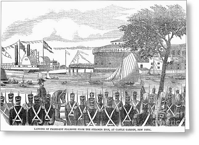 Millard Fillmore (1800-1874). 13th President Of The United States. Landing Of President Fillmore From The Steamship Erie, At Castle Garden, New York City, 1851. Contemporary American Wood Engraving Greeting Card by Granger