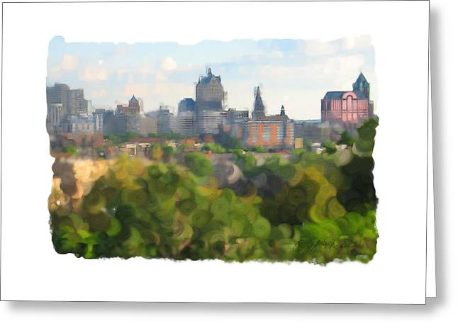 Milwaukee From Resevoir Park Greeting Card by Geoff Strehlow