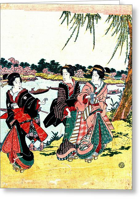 Mimeguri Cherry Blossoms 1818 Greeting Card by Padre Art