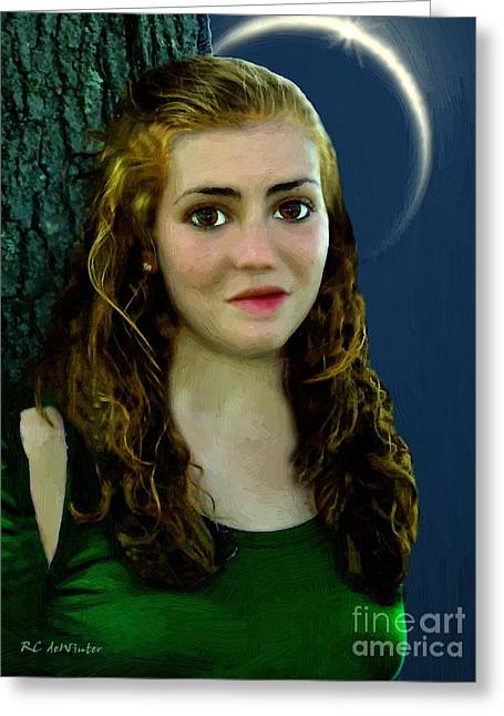 Mina By Moonlight Greeting Card by RC DeWinter