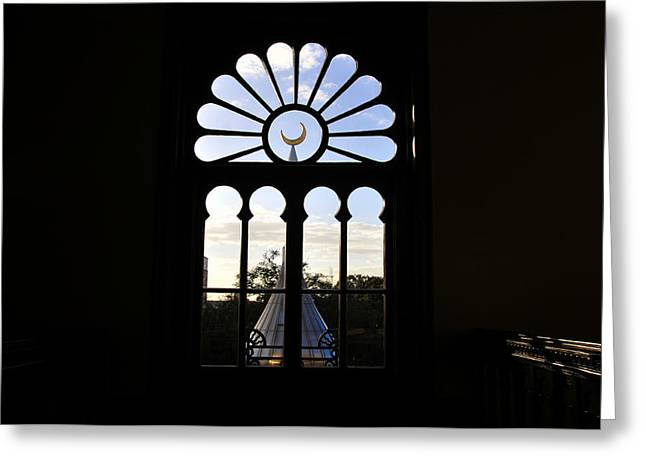 Minaret Through Window Greeting Card by David Lee Thompson