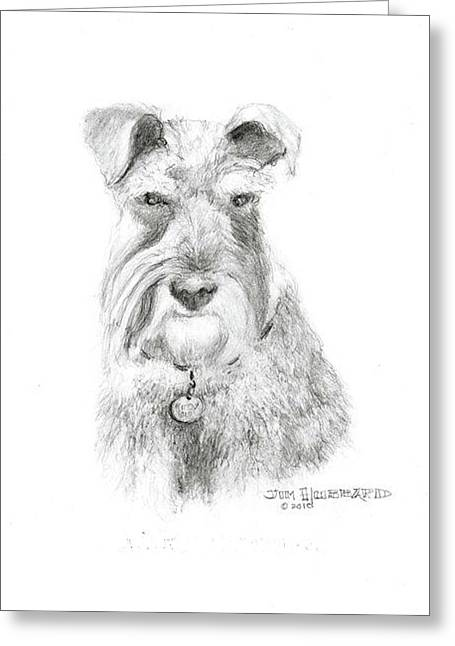 Greeting Card featuring the drawing Miniature Schnauzer by Jim Hubbard