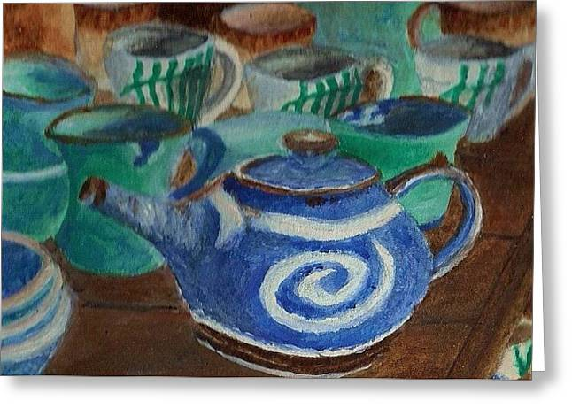Greeting Card featuring the painting Miniature Teapots And Cups by Christy Saunders Church