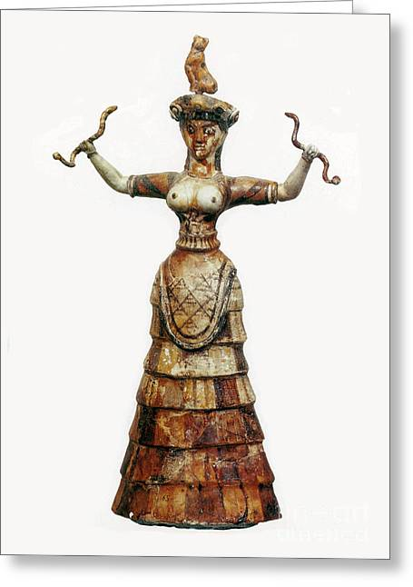 Minoan Snake Goddess Greeting Card by Photo Researchers