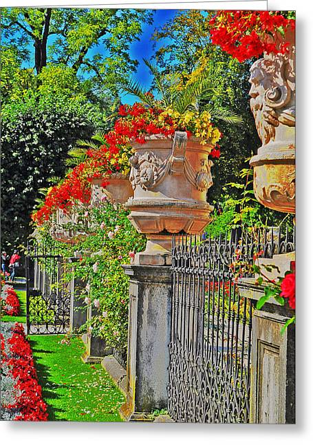 Mirabell Gardens In Salzburg Hdr Greeting Card