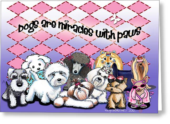 Miracles With Paws Greeting Card by Catia Cho