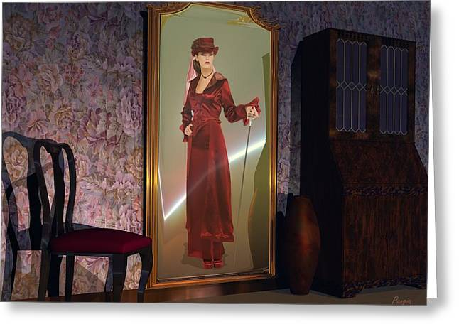 Greeting Card featuring the digital art Mirror by John Pangia