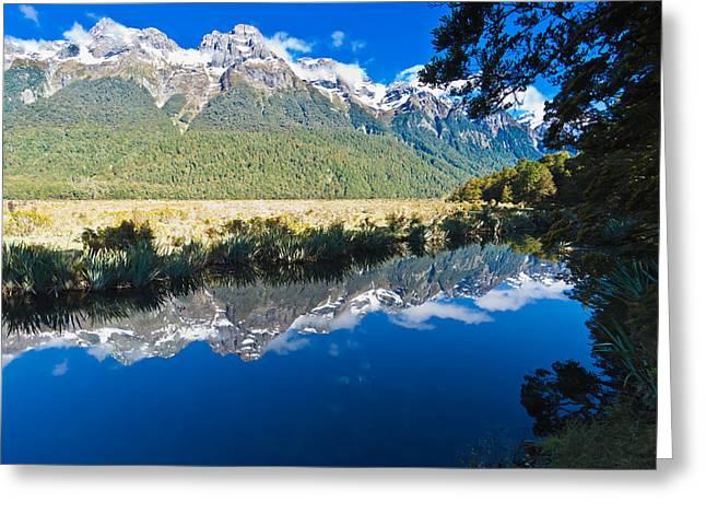 Mirror Lakes Greeting Card by Graeme Knox