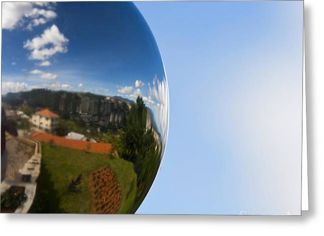 Mirrored Ball With Reflection Of Landscape Greeting Card by David Buffington