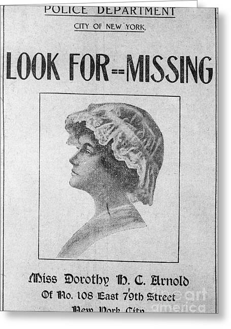 Missing Person, 1911 Greeting Card by Granger