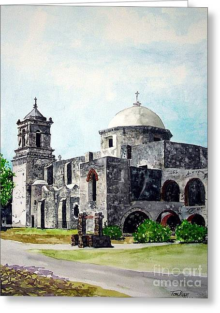 Greeting Card featuring the painting Mission San Jose Two by Tom Riggs