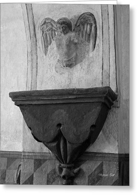 Mission San Xavier Del Bac - Angel Gargoyle In Black And White Greeting Card by Suzanne Gaff