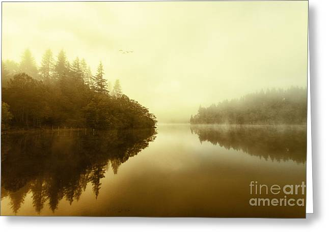 Mist Across The Water Loch Ard Greeting Card