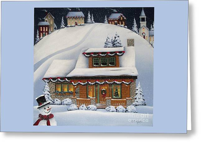 Mistletoe Cottage Greeting Card by Catherine Holman