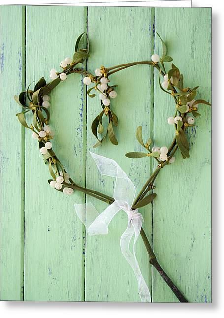 Mistletoe Decoration Greeting Card by Erika Craddock