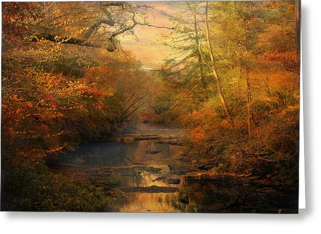 Misty Autumn Morning Greeting Card by Jai Johnson