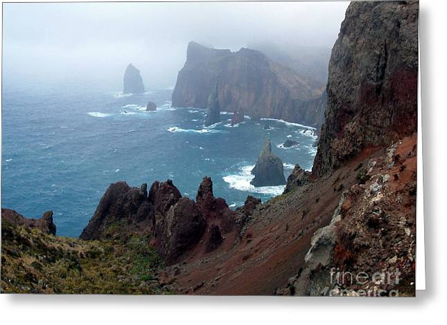 Misty Cliffs Greeting Card by John Chatterley