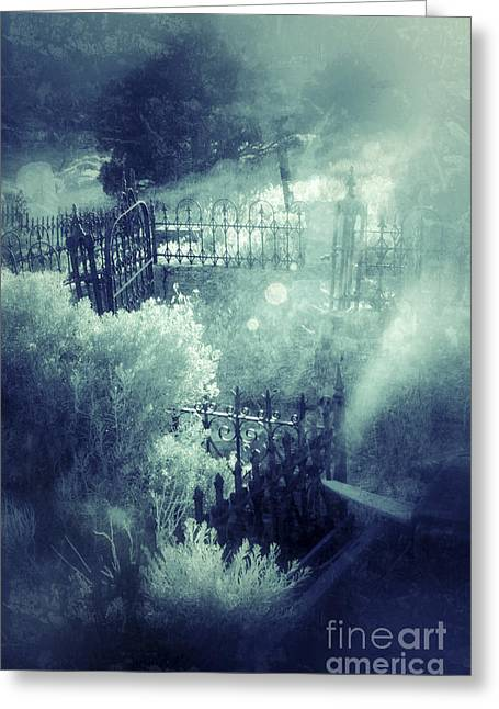 Misty Graveyard Greeting Card