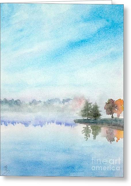 Misty Lake Greeting Card by Yoshiko Mishina