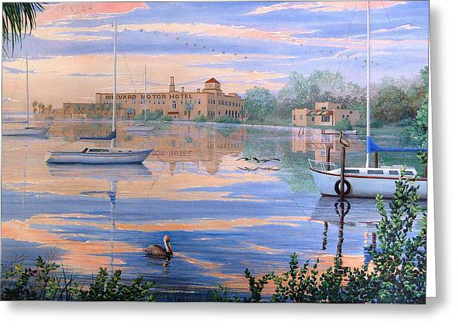 Greeting Card featuring the painting Misty Morn by AnnaJo Vahle