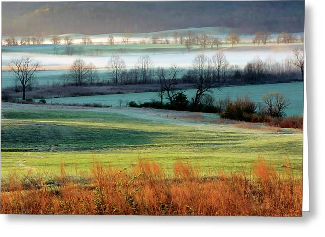 Misty Morning At Cades Cove Greeting Card by Dave Mills