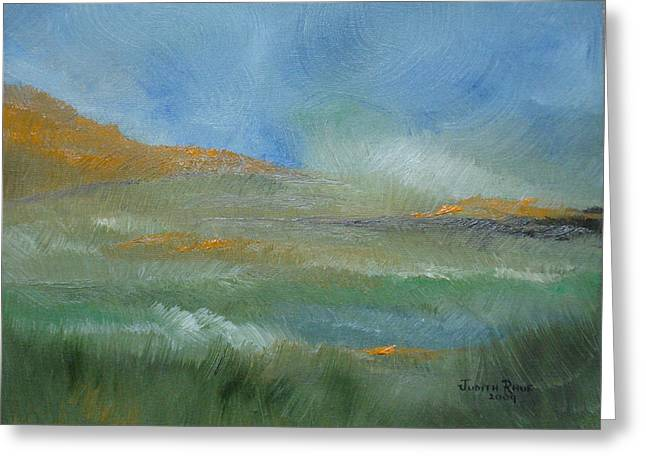 Greeting Card featuring the painting Misty Morning by Judith Rhue