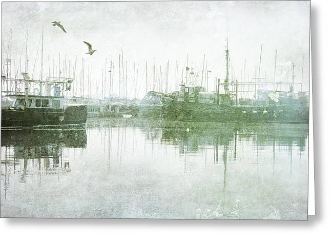 Misty Morning On The Boat Harbour Greeting Card