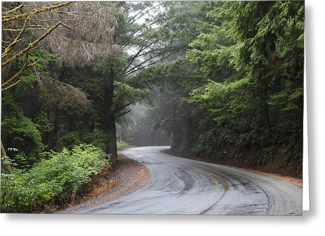 Misty Mountain Road Greeting Card by Michael Swanson