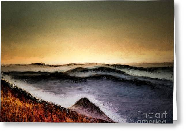 Misty Sunrise Greeting Card by Arne Hansen
