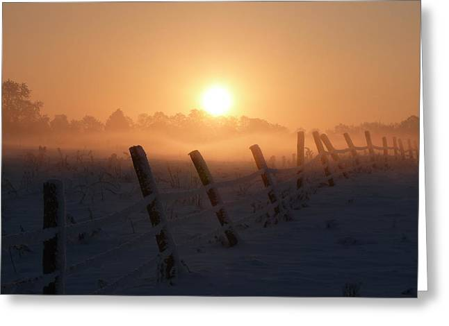 Misty Sunset Greeting Card by Cat Shatwell