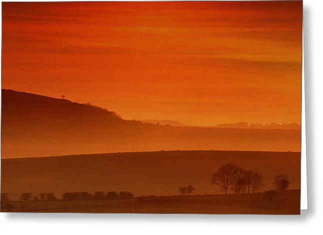 Misty Sunset Greeting Card by Mark Leader
