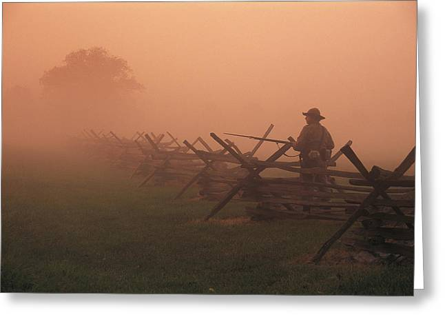 Misty View Of The Civil War Battlefield Greeting Card by Richard Nowitz