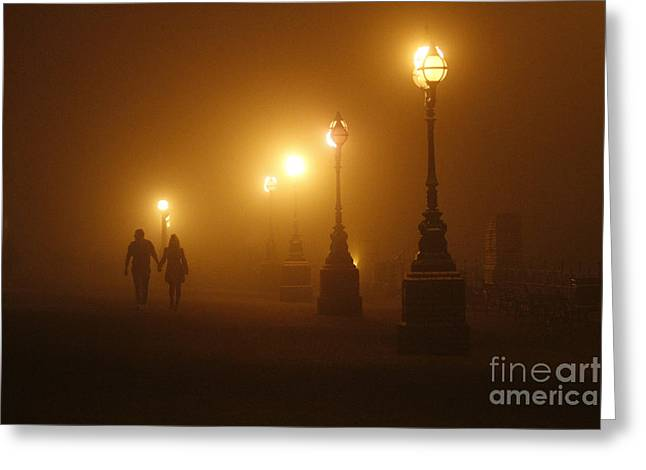 Misty Walk Greeting Card by Urban Shooters