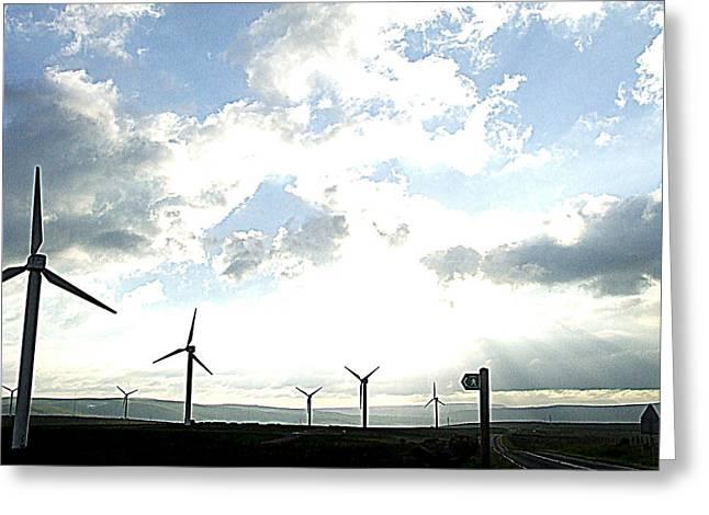Misty Windmills Greeting Card by Rusty Woodward Gladdish