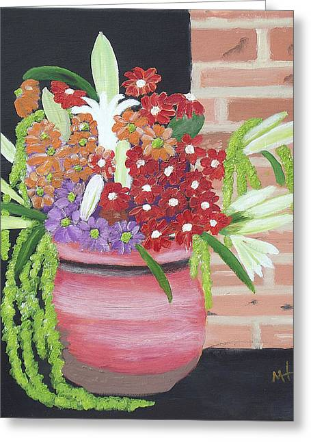 Greeting Card featuring the painting Mixed Flowers In Orange Crock by Margaret Harmon